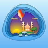 Zonsondergang met ballon, dolfijnen, moskee en palmen op eiland De illustratie van de toeristenkaart in document sneed stijl royalty-vrije illustratie
