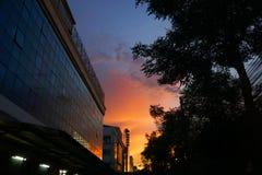 Zonsondergang met blauwe hemel in grote steden stock fotografie