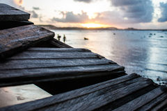 Zonsondergang met een vloed Stock Fotografie