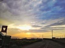 Zonsondergang met hart Stock Foto's