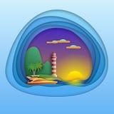 Zonsondergang met jacht, vuurtoren, berg en palmen op eiland De illustratie van de toeristenkaart in document sneed stijl Royalty-vrije Stock Afbeeldingen