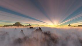 Zonsondergang met lage hangende wolken en amzing cirruswolken Royalty-vrije Stock Foto