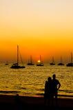 Zonsondergang met minnaar. Stock Afbeelding