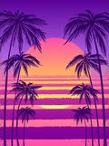 Zonsondergang met palmen, in purpere achtergrond Vectorillustratie, ontwerpelement voor gelukwenskaarten, druk vector illustratie
