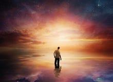 Zonsondergang met sterren Stock Foto