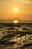Zonsondergang met vlakke modder royalty-vrije stock afbeelding
