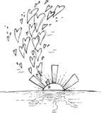 Zonsondergang met vliegende harten royalty-vrije illustratie