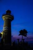 Zonsondergang met vuurtoren Royalty-vrije Stock Foto
