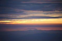 Zonsondergang met zon Stock Foto