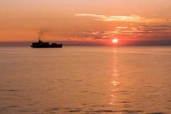 Zonsondergang in Middellandse Zee Stock Afbeelding