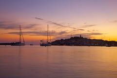 Zonsondergang in Middellandse-Zeegebied Royalty-vrije Stock Fotografie