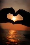 Zonsondergang in mijn hart Stock Afbeeldingen