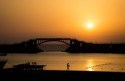 Zonsondergang in Montaza, Alexandrië, Egypte Stock Fotografie
