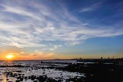 Zonsondergang in Montevideo, Uruguay Stock Foto's