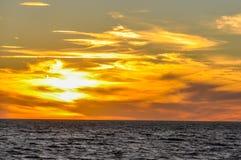 Zonsondergang in Montevideo, Uruguay Royalty-vrije Stock Afbeelding