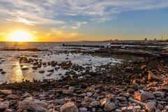 Zonsondergang in Montevideo, Uruguay Royalty-vrije Stock Afbeeldingen