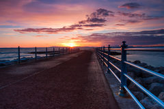 Zonsondergang in Morecambe-Baai in Engeland Stock Fotografie