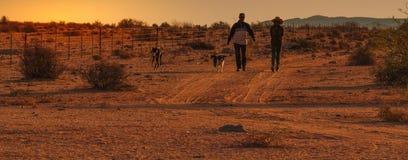 Zonsondergang in Namaquland Zuid-Afrika royalty-vrije stock fotografie