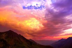 Zonsondergang - Nationaal park van Cevennes royalty-vrije stock fotografie