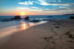 Zonsondergang in New Port Beach, CA Stock Fotografie