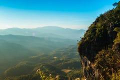 Zonsondergang in Ngo Mon Viewpoint, Chiang Mai Royalty-vrije Stock Fotografie