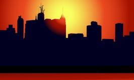 Zonsondergang in Nieuwe York-vector Royalty-vrije Stock Afbeeldingen