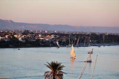 Zonsondergang in Nile River royalty-vrije stock afbeeldingen