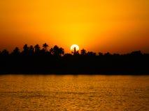 Zonsondergang in Nile River Stock Foto