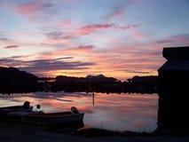 Zonsondergang in Noorwegen Stock Foto