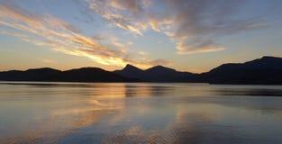 Zonsondergang in Noorwegen Royalty-vrije Stock Afbeeldingen