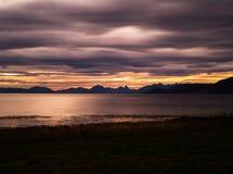 Zonsondergang in Noorwegen stock afbeeldingen