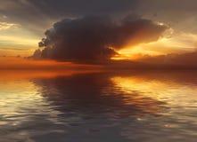 Zonsondergang in Oceaan Stock Afbeelding