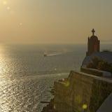 Zonsondergang in Oia royalty-vrije stock fotografie