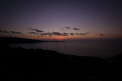 Zonsondergang in Oia Santorini Griekenland Royalty-vrije Stock Foto