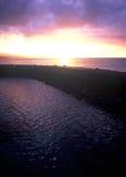 Zonsondergang in Okinawa Cape Busena Royalty-vrije Stock Afbeeldingen