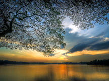 Zonsondergang onder Boeg royalty-vrije stock afbeelding