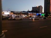 Zonsondergang op Arbat van Moskou Stock Afbeeldingen
