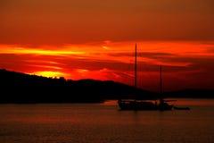 Zonsondergang op beach_1 Stock Foto's