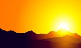 Zonsondergang op Berg Stock Illustratie