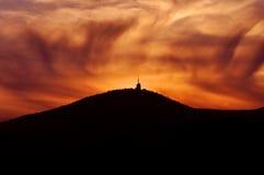 Zonsondergang op bergen Stock Foto