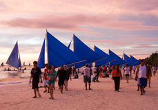 Zonsondergang op Boracay Stock Fotografie