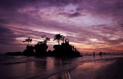 Zonsondergang op Boracay Stock Foto