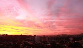 Zonsondergang op Butanta, Sao Paulo, Brazilië Stock Afbeelding