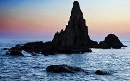 Zonsondergang op Cabo DE Gata Stock Afbeeldingen