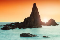 Zonsondergang op Cabo DE Gata Stock Foto