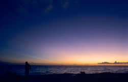 Zonsondergang op Caraïbische ocea Stock Fotografie
