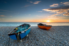 Zonsondergang op Chesil-Strand Royalty-vrije Stock Foto