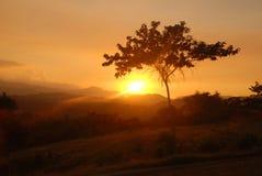 Zonsondergang op Cuba stock foto's