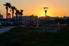 Zonsondergang op Cyprus Stock Afbeelding