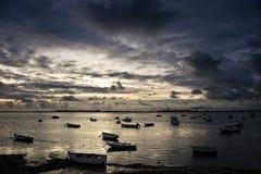 Zonsondergang op de Baai van CÃ ¡ diz Royalty-vrije Stock Foto